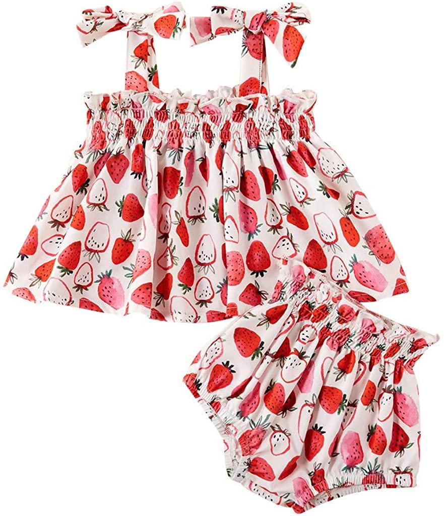 Baby Girl Summer Shorts Set,Toddler Baby Girls Summer Off Shoulder Floral Tops Tassel PP Pants Shorts Set