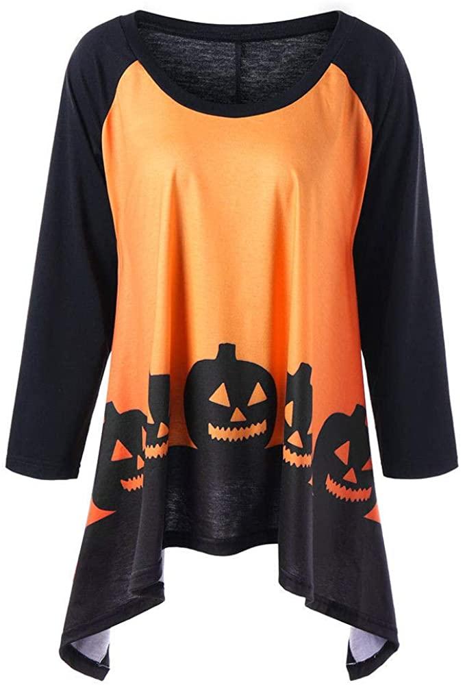 ZEFOTIM Fashion T-Shirts Womens Halloween, Fashion Women Halloween Three Quarter Sleeve Pumpkin Head Print Irregular Top