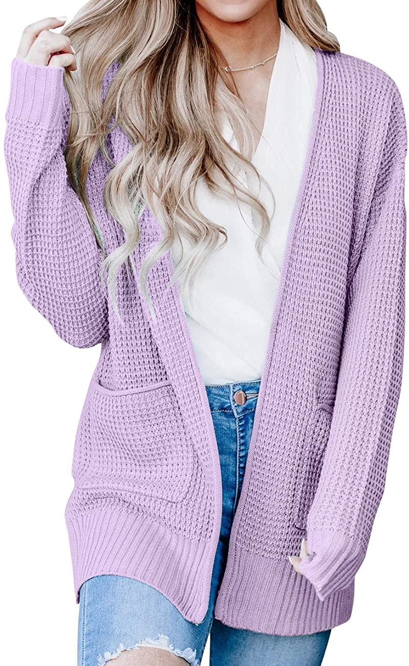 MEROKEETY Womens Long Sleeve Waffle Knit Cardigan Open Front Side Slit Sweater with Pockets