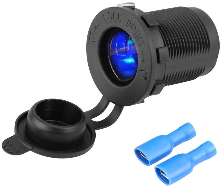 KIMISS DC12V-24V Cigarette Lighter Power Plug Socket Outlet with Blue LED Waterproofing for Car Motorcycle Boat