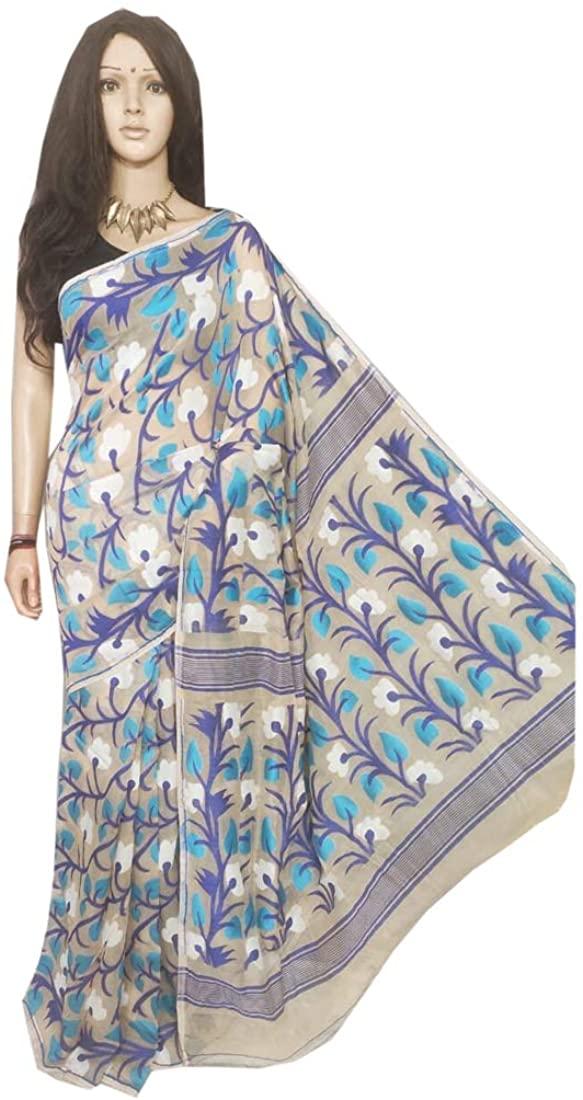 Indian Handmade Festive Puja Formal Wear Women Weaving Soft Dhakai Jamdani Saree Sari 752 12