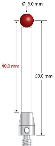 TM4-6053-C / M4 Machine Tool Probe Stylus with 6.0 mm Ruby Ball and Ceramic Shaft, 50 mm Long