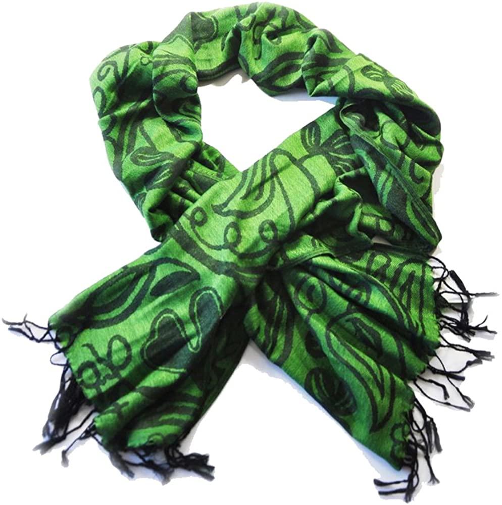 Irish Shamrock Green and Black Scarf