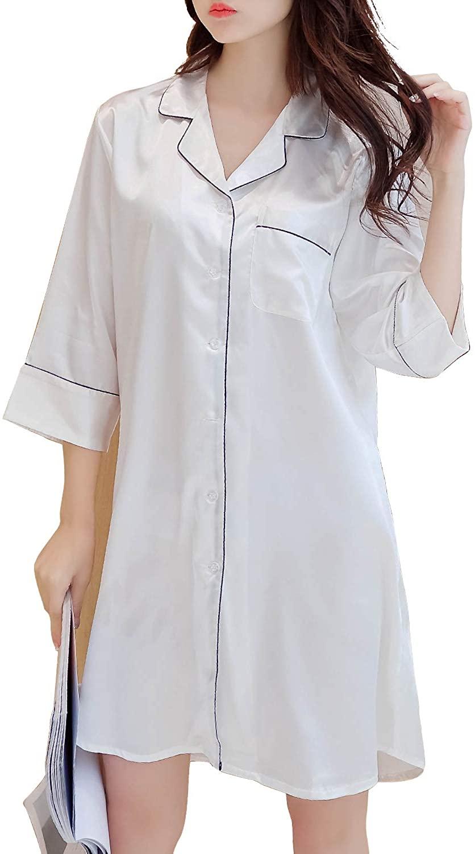 Maleroads Women Girls Turndown Collar Nightshirt Pyjamas Artificial Silk Nightdress Nightie 3/4 Sleeve Sleeping Dress