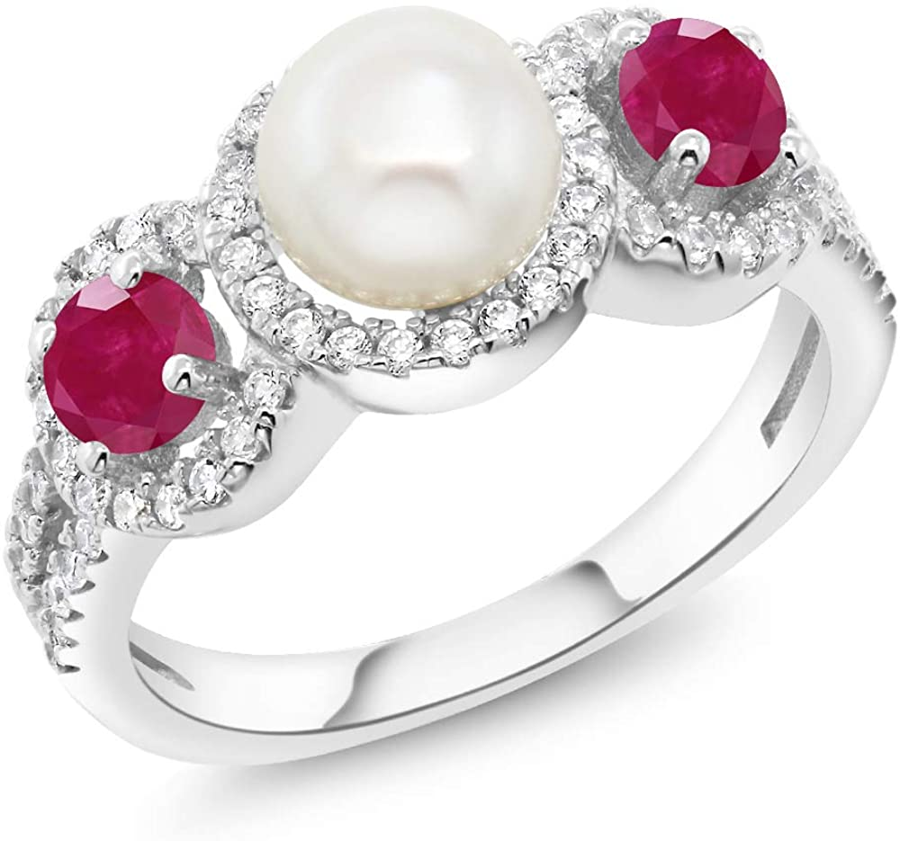 Gem Stone King 1.40 Ct Round Cultured Freshwater Pearl Red Ruby 925 Sterling Silver Ring (Available 5,6,7,8,9)