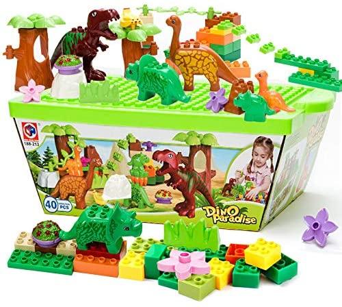 Christoy Dinosaur Paradise Building Blocks Pretend Playset Plastic Kids Dinosaur Toys Learning Educational Dinosaur World Park for Boys Girls 40pcs