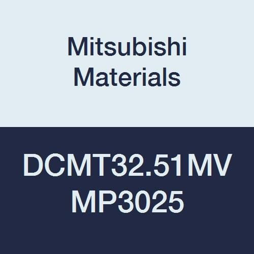 Mitsubishi Materials DCMT32.51MV MP3025 Coated Cermet DC Type Positive Turning Insert with Hole, MV Breaker, Rhombic 55°, Grade MP3025, 0.375
