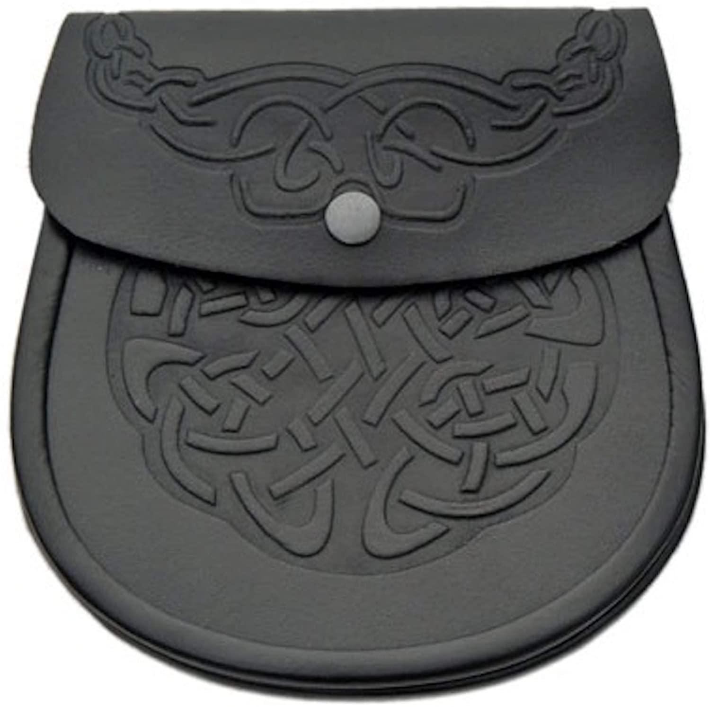 KSUC Black Genuine Leather Sporran Celtic Knot Double Embossed Scottish Kilt Sporran w/Chain and Belt