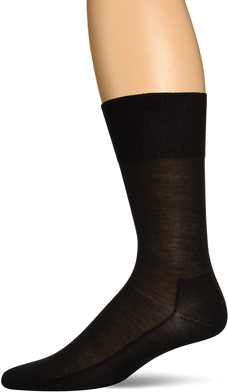 FALKE Mens No. 4 Pure Silk Dress Sock - 92% Silk, Black, US sizes 6.5 to 13.5, 1 Pair