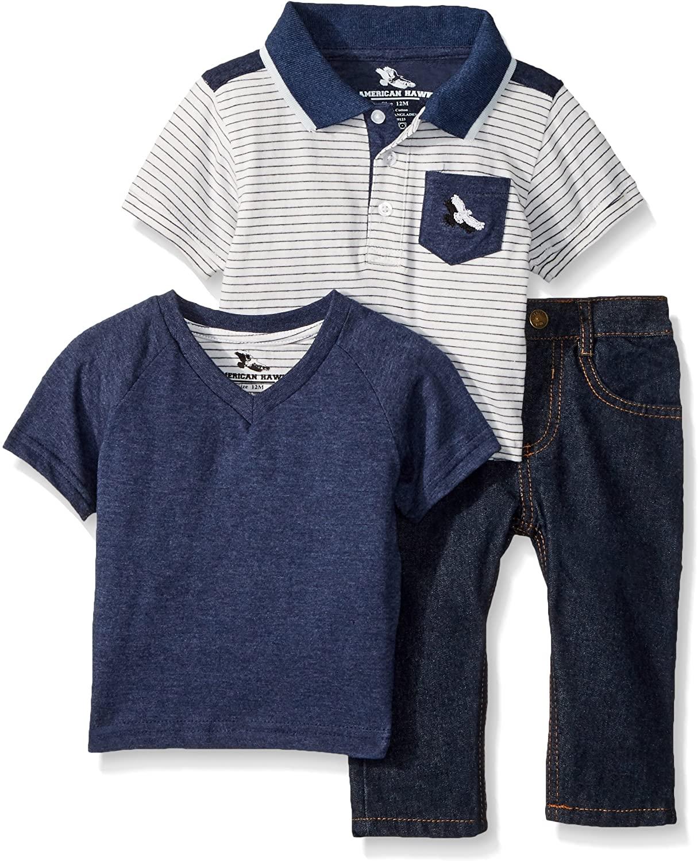 American Hawk Baby Boys Short Sleeve Plaid, T-Shirt, and Jean Set