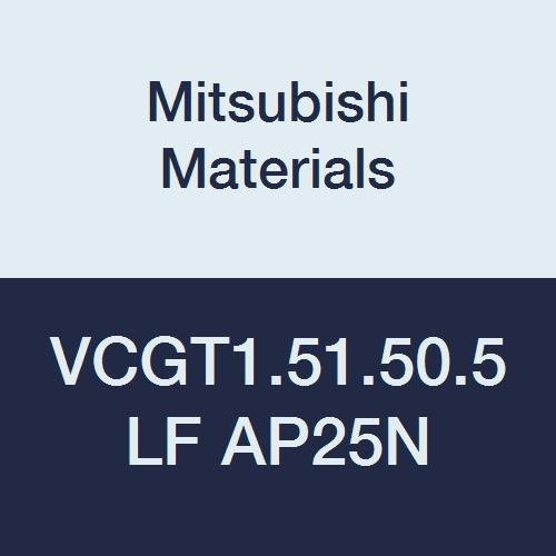 Mitsubishi Materials VCGT1.51.50.5LF AP25N PVD Coated Cermet VC Type Positive Turning Insert with Hole, Rhombic 35°, 0.187