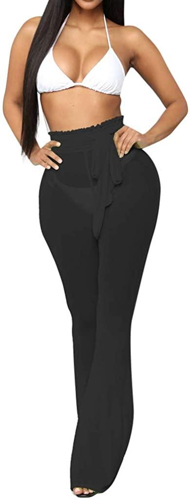 Benficial Fashion Women Solid Mesh Perspective High Waist Bandage Casual Beach Long Pants 2019 Summer