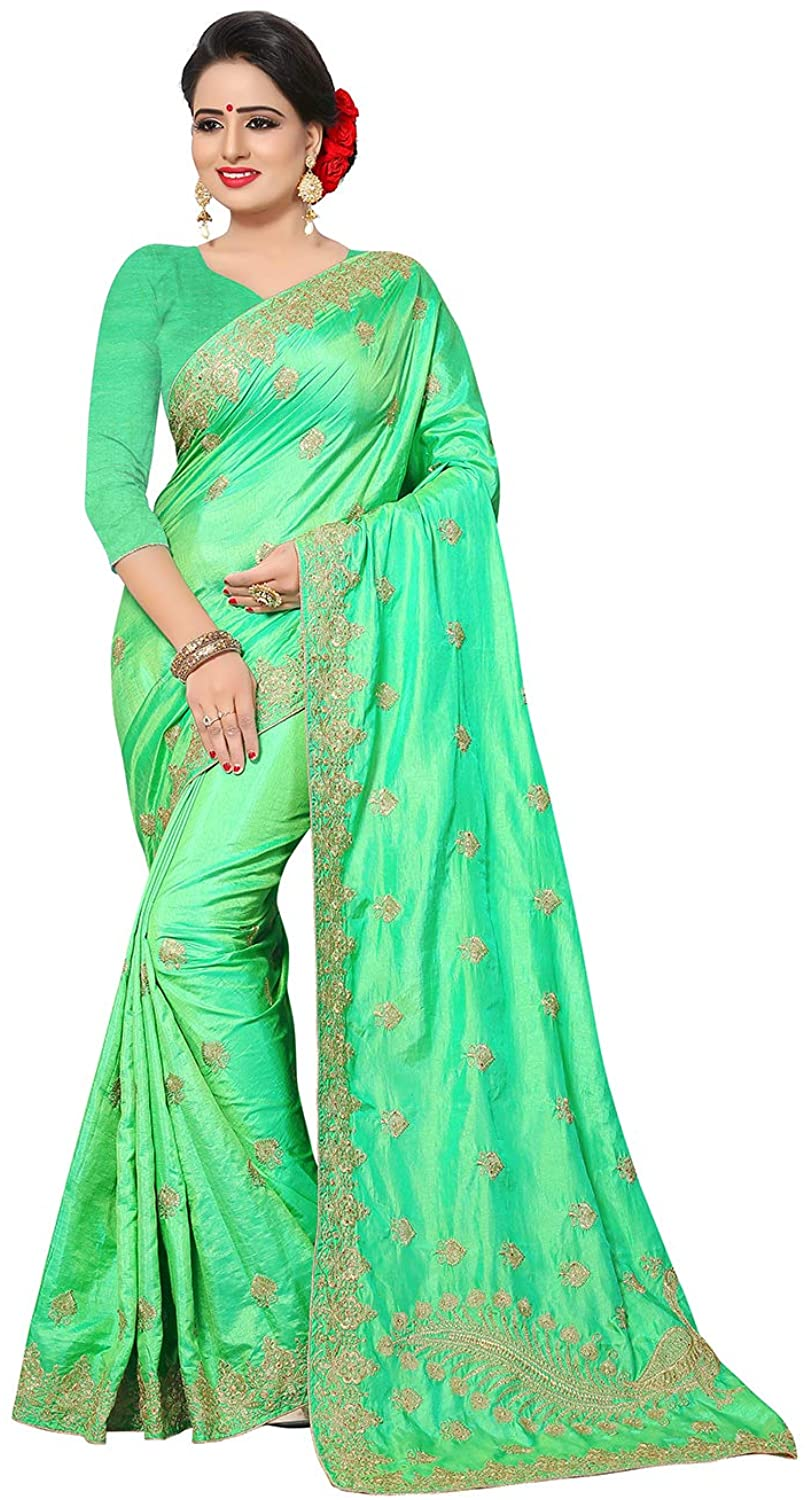 Indian Women Saree Ethnic Traditional Pista Sari with Unstitched Blouse.