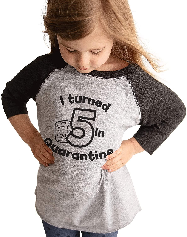 7 ate 9 Apparel Kids Five Birthday Quarantine Grey Baseball Tee