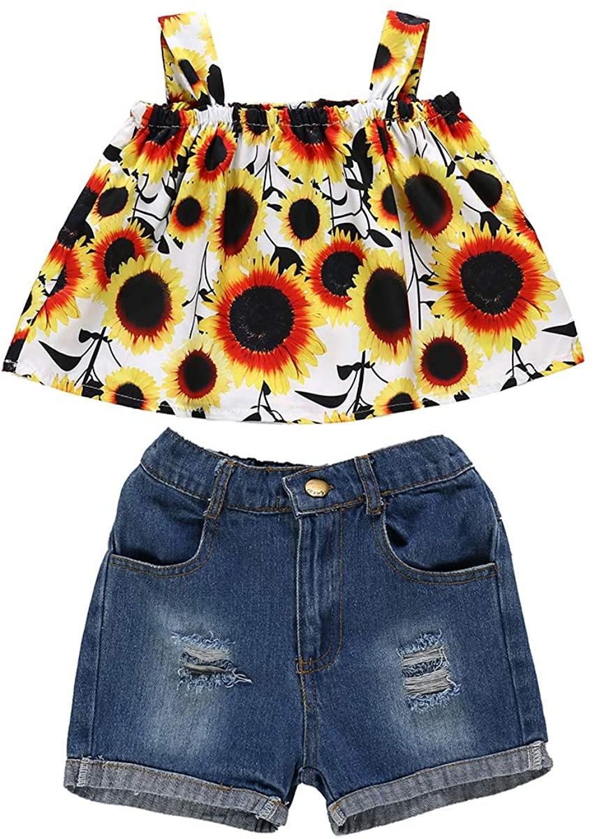 YOUNGER TREE Toddler Kids Baby Girl Summer Clothes Sunflower Halter Tops Jeans Shorts 2Pcs Girl Casual Outfits