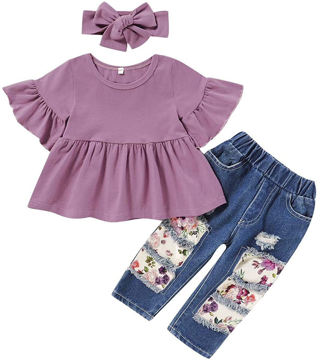Toddler Baby Girls Floral Outfits Sunflower Flower Ruffle Top + Ripped Jeans Pants + Headband Summer Boutique Clothes