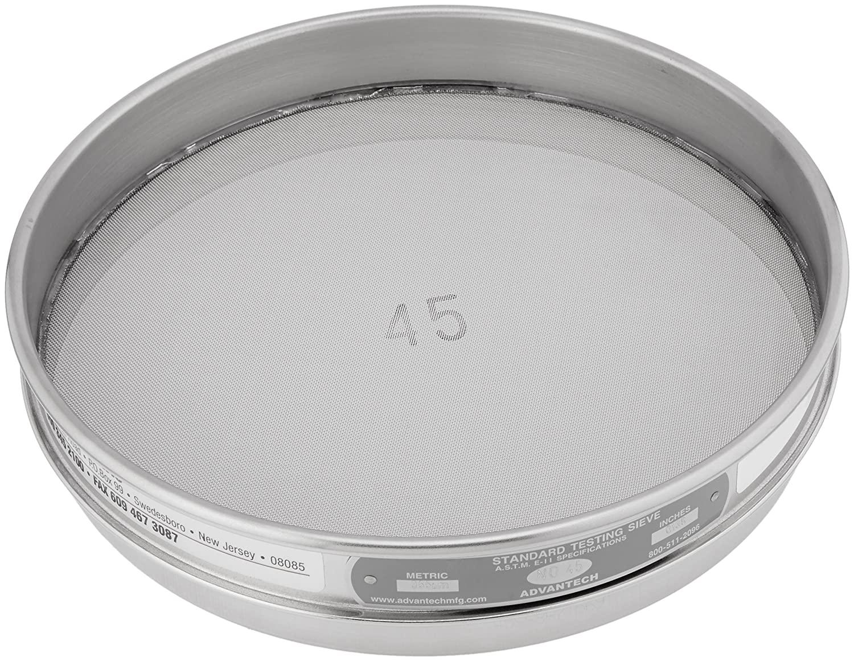 Advantech 45SS8H Stainless Steel Half Sieve, 8 Diameter, #45 Mesh Size