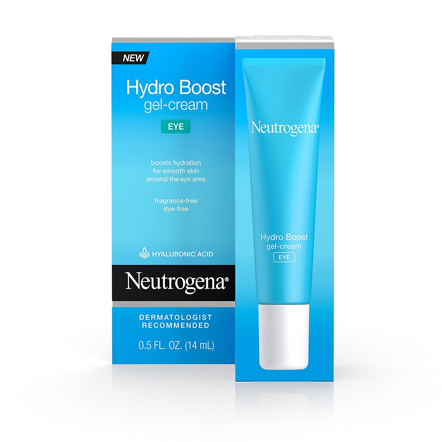 Neutrogena Hydro Boost Hydrating Gel Eye Cream with Hyaluronic Acid, Dermatologist Recommended, Oil and Fragrance Free, 0.5 fl. oz (Pack of 2)