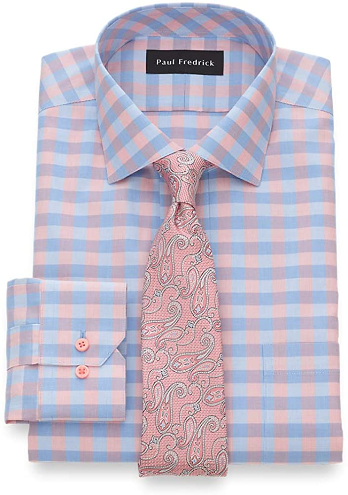 Paul Fredrick Men's Tailored Fit Impeccable Non-Iron Cotton Gingham Dress Shirt