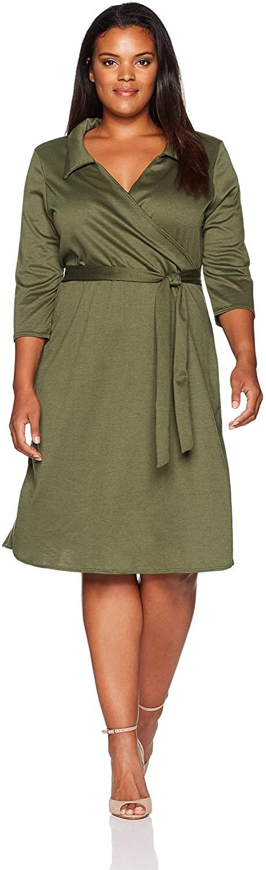 Star Vixen Women's Plus-Size 3/4 Sleeve Faux Wrap Dress with Collar