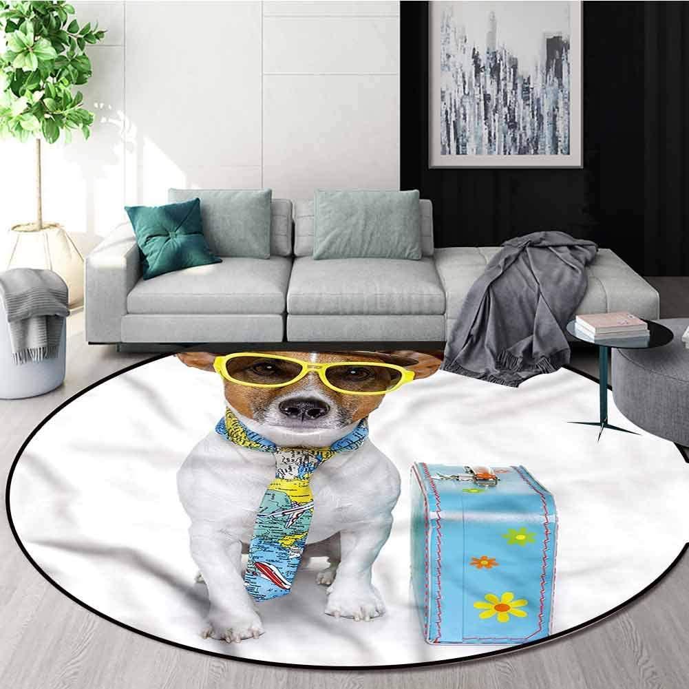 RUGSMAT Dog Area Silky Smooth Rugs,Traveler Funny Dog Design Non-Slip No-Shedding Kitchen Soft Floor Mat Diameter-39