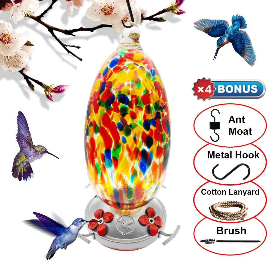 REZIPO Hummingbird Feeder with Perch - Hand Blown Glass - Orange - 37 Fluid Ounces Hummingbird Nectar Capacity Include Hanging Wires and Moat Hook