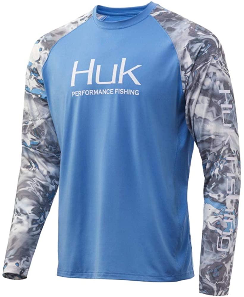 Huk Men's Mossy Oak Double Header Vented Long Sleeve Shirt | Camo Long Sleeve Performance Fishing Shirt With +30 UPF Sun Protection, Mossy Oak Hydro Standards, Medium