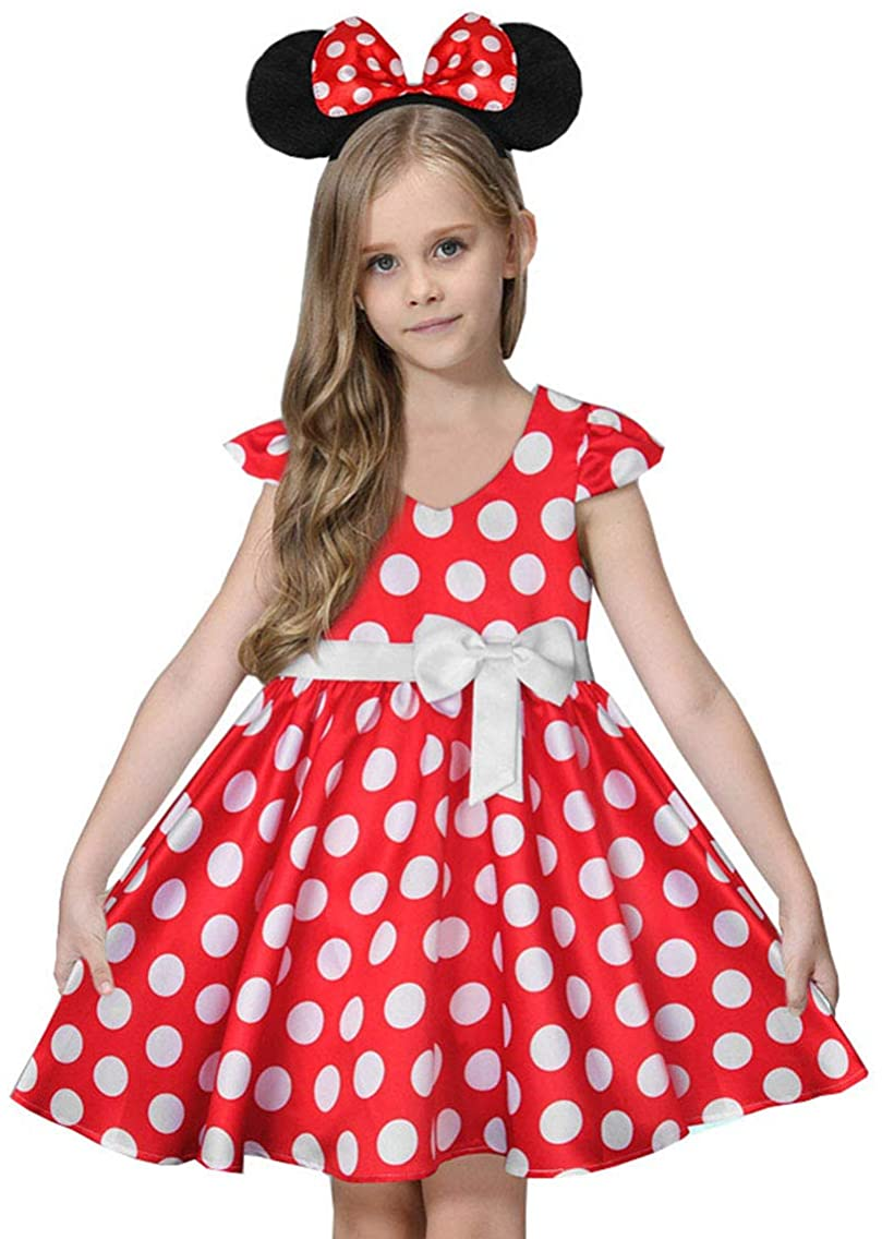Colorfog Girls Toddlers Princess Polka Dots Mouse Costume Dress Cosplay Party Cap Sleeves with Ear Headband (Red, 10)