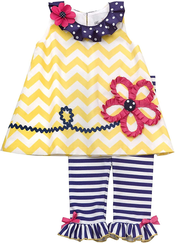 Baby Girls 3M-24M Yellow/Blue Flower Applique Chevron Stripe Knit Dress/Legging Set