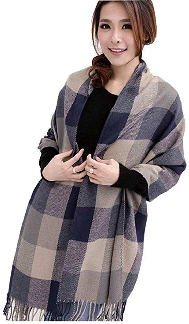 Women's Scarf, Fashion Long Shawl Big Grid Winter Warm Lattice Large Cashmere Scarf