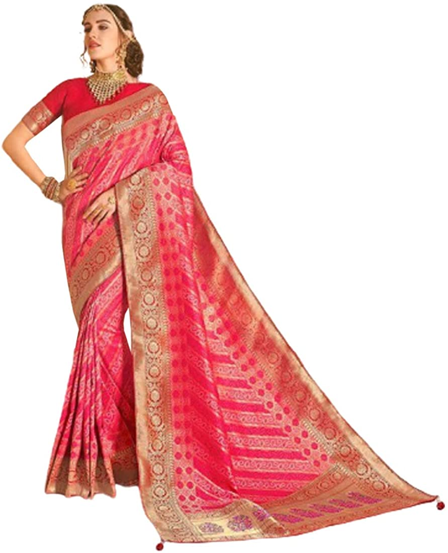 Pink Wedding Party Special Traditional Soft Silk Saree Sari Blouse Muslim Women Indian Dress 9815B