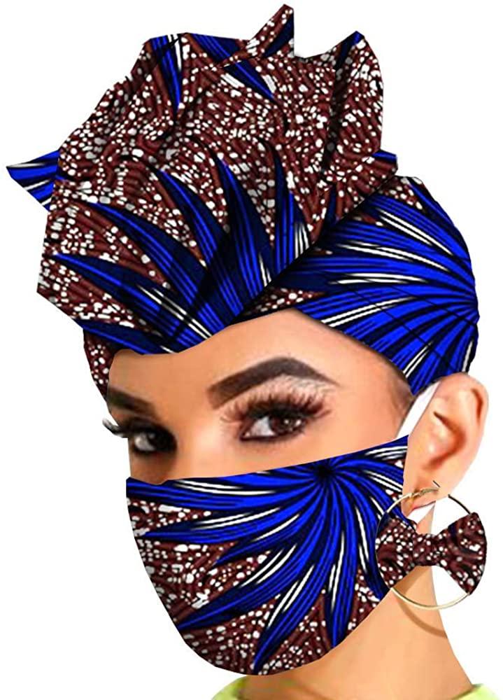 African Headwraps Earrings Print Headtie Headband Bonnet Ankara Wax Batik African Headscarf Accessories Mask Match Print