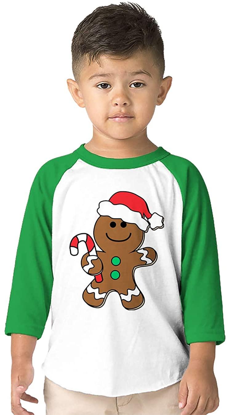 SpiritForged Apparel Christmas Gingerbread Man Toddler 3/4 Raglan Shirt