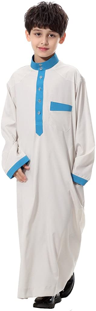 GladThink Boy's Muslim Thobe Long Sleeves Mandarin Neck