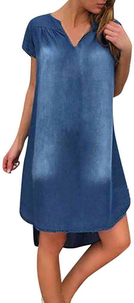 BCDshop_Dress Clearance Womens Loose V Neck Denim Shirt Dress Distressed Short Sleeve Plus Size Jeans Dresses