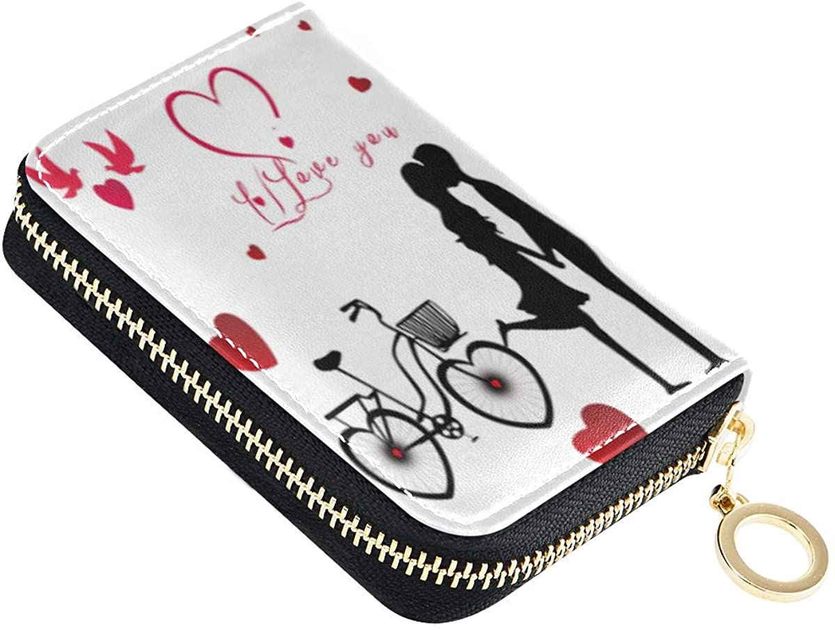 Credit Card Wallet Romantic Beauty For Valentines Day Zipper Card Cases Holder for Men Women RFID Leather