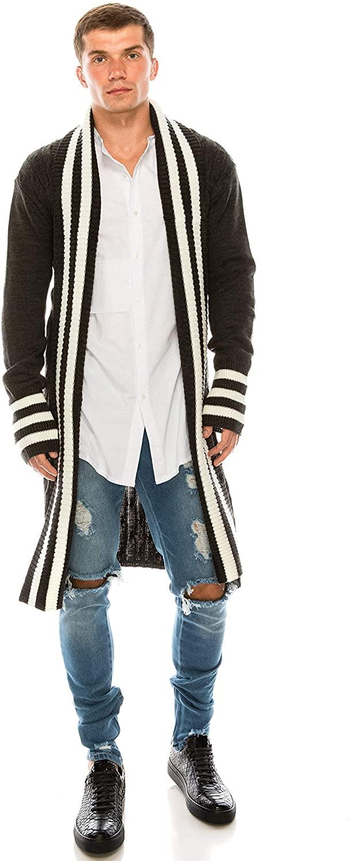 Ron Tomson Longline Stripe Collar Cardigan - Grey White