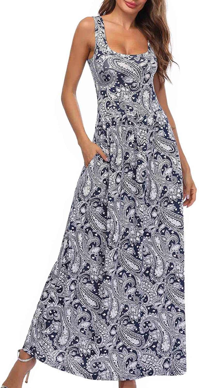 MSBASIC Summer Sleeveless Floral Print Casual Long Maxi Tank Dress with Pockets