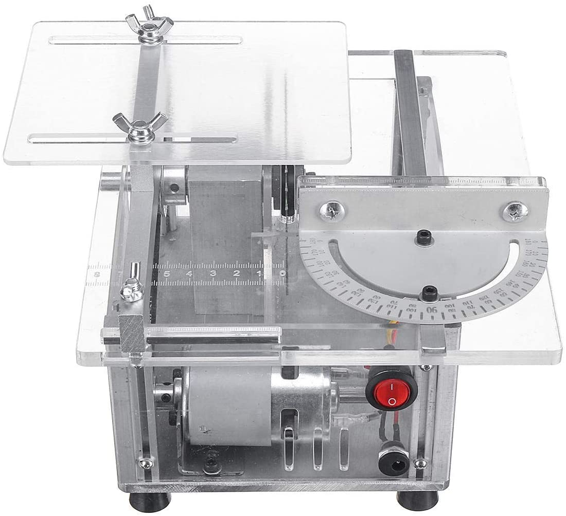 KXA Wood Lathes, Cutting Machine 100W 100V-240V Multi-function Mini Table Saw Woodworking Bench Lathe DIY Cutting Machine