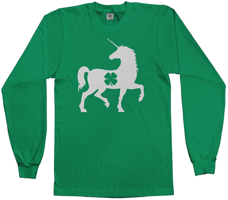 Unicorn Four Leaf Clover St. Patricks Day Kids Youth Long Sleeve T-Shirt