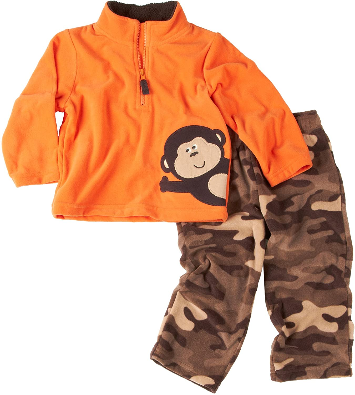 Carter's Infant Boys 2pc Microfleece Orange Monkey