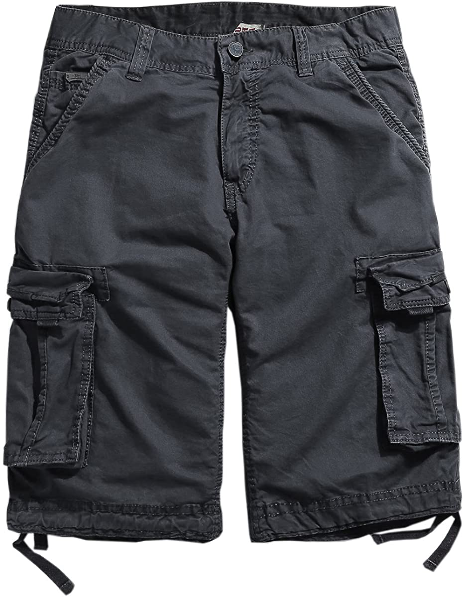 BUAAM Men's Pure Cotton Loose Fit Multi Pockets Cargo Shorts
