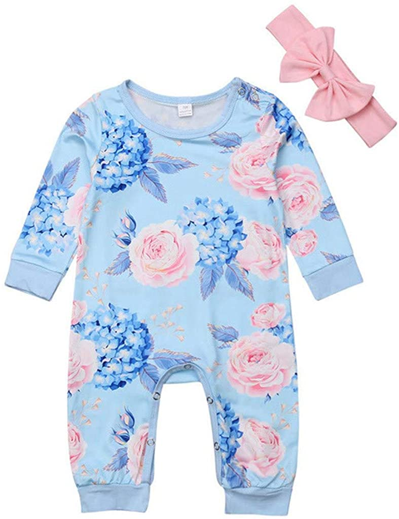 SSZZoo Toddler Kids Baby Girl Clothes Sets Cotton Pocket Floral Romper Jumpsuit+Bow Hair Band