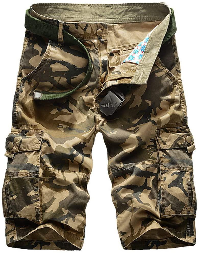 BORSDS Camouflage Camo Cargo Shorts Mens Casual Shorts Loose Work Shorts Military Short Pants