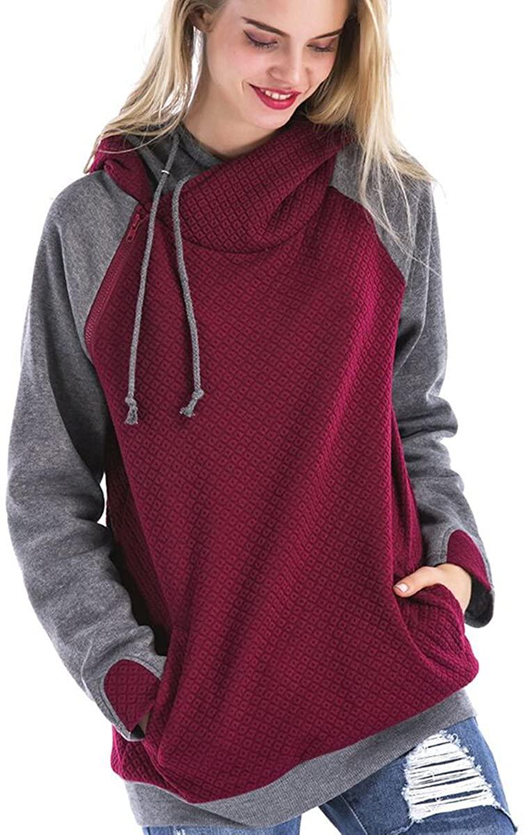 St. Jubileens Women Hoodie Sweatshirt Long Sleeve Spliced Color Casual Pullover Tops with Pockets