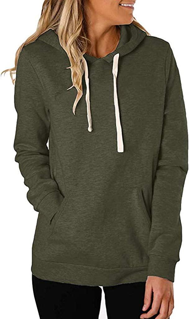 Hoomhome Women's Solid Color Long Sleeve Drawstring Hoodie Gym Sherpa Trendy Hoodie Personalized Sweatshirts