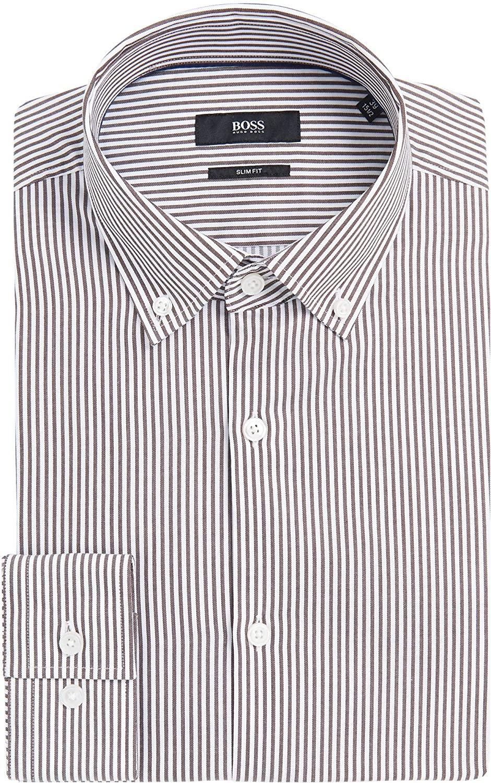 Hugo Boss Men's 'Ismar' Slim Fit Two Color Stripe Dress Shirt 15 33/34