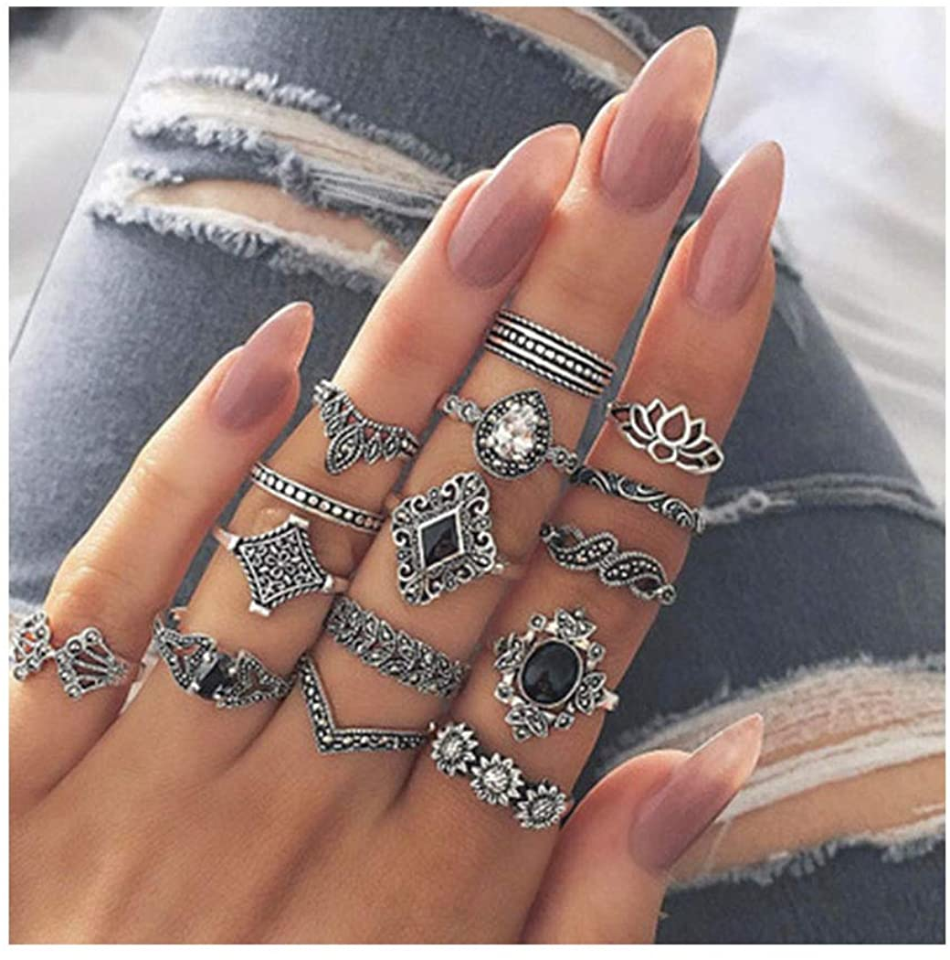 deladola Vintage Knuckle Rings Set Silver Crystal Gem Joint Finger Rings Sets Retro Carving Flower Stackable Midi Ring Jewelry for Women and Girls(15 Pcs)