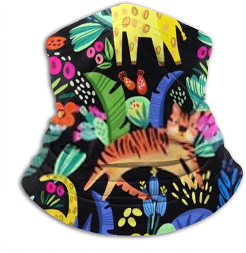 Cute Tropical Seamless Pattern Adorable Animals Unisex Fleece Neck Warmer Gaiter Microfiber Face Mask,Neck Gaiter,Magic Scarf for Dust Outdoors