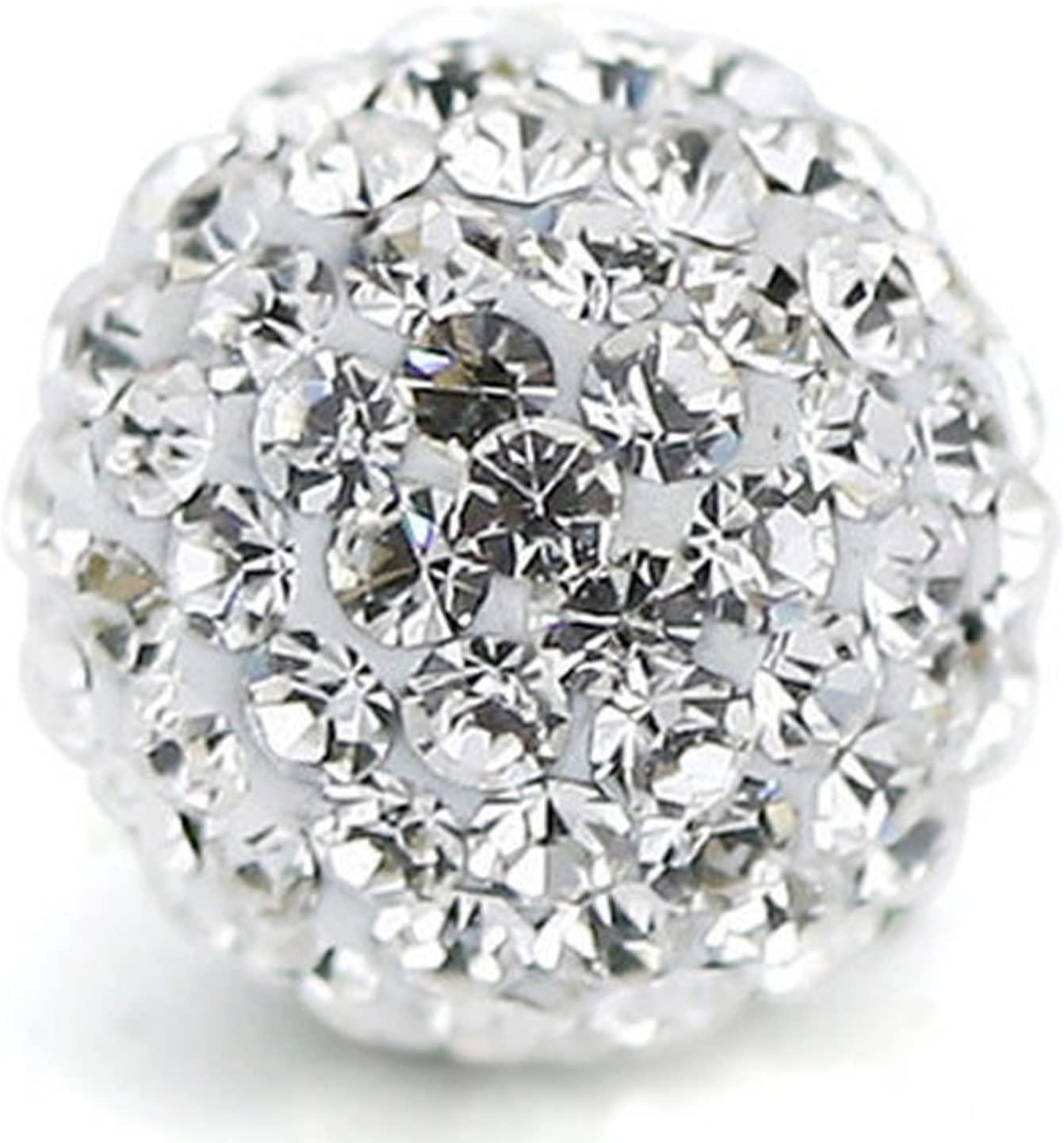 RUBYCA Pave Czech Crystal Disco Ball Clay Beads fit Shamballa Jewelry (20pcs, 12mm, White Clear)
